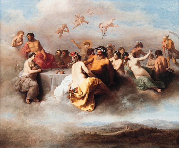 Meeting Gods In The Clouds by Cornelis van Poelenburch