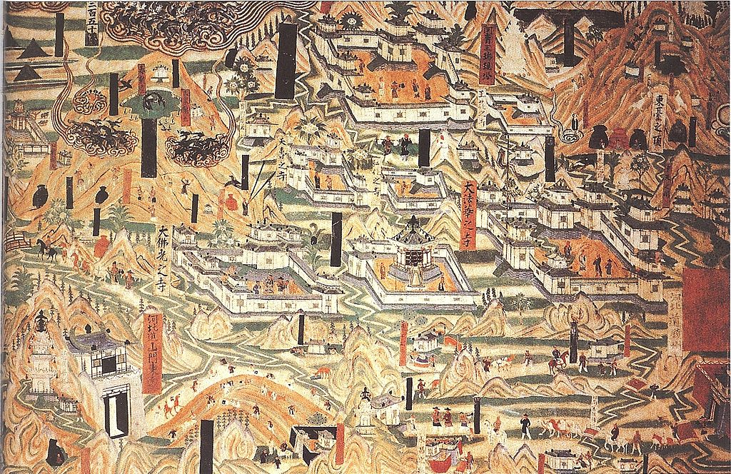 1024px Mogao Cave 61 painting of Mount Wutai monasteries