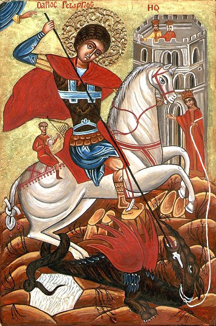 Orthodox Bulgarian icon of St. George fighting the dragon