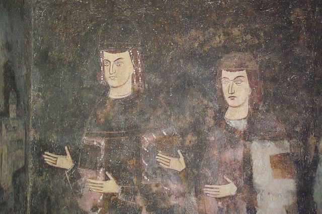 Fresco of young Stefan Dragutin and Stefan Milutin Sopoani