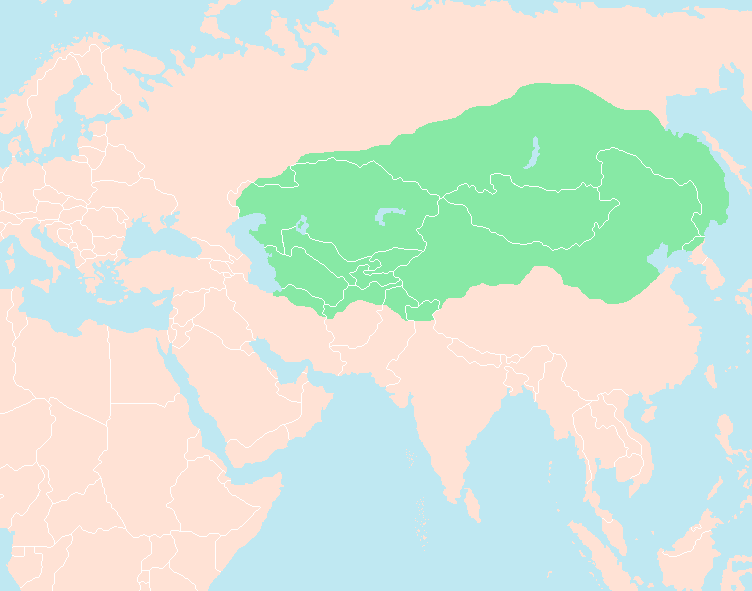 Genghis khan empire at his death